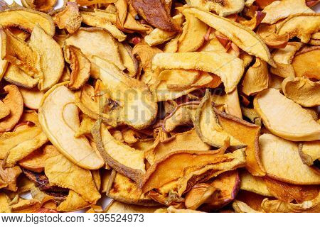 Dried Slices Apples, Group Of Dry Slices Of Apple. Organic Dried Apple. Background Texture