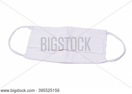 White Face Medical Homemade Mask To Protect People From Virus. Isolated On A White Background
