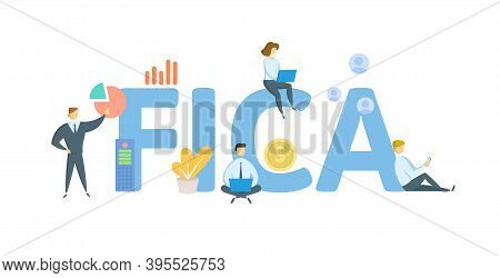Fica, Federal Insurance Contributions Act. Concept With Keywords, People And Icons. Flat Vector Illu