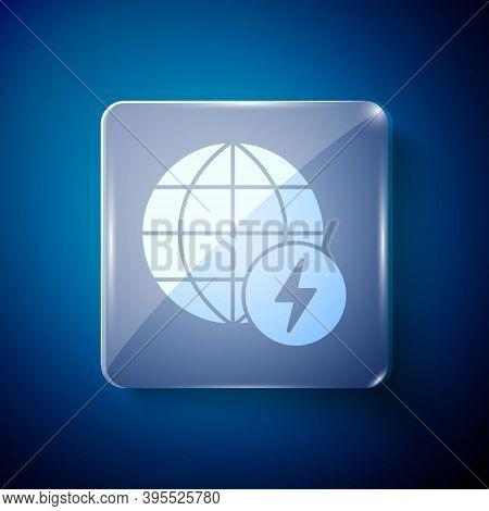 White Global Energy Power Planet With Flash Thunderbolt Icon Isolated On Blue Background. Ecology Co