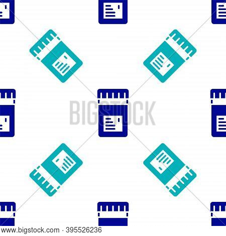 Blue Biologically Active Additives Icon Isolated Seamless Pattern On White Background. Vector