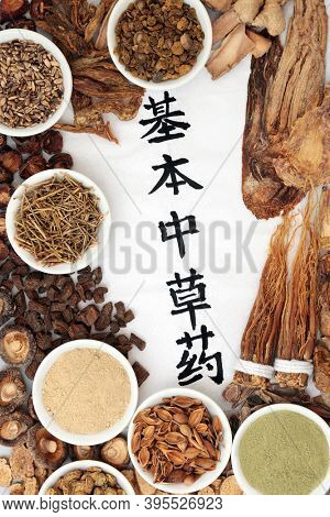 Chinese fundamental herbs regularly used in herbal medicine with calligraphy script on rice paper on grunge background. Translation reads as chinese fundamental herbs.