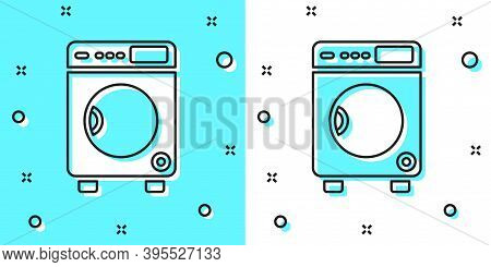 Black Line Washer Icon Isolated On Green And White Background. Washing Machine Icon. Clothes Washer