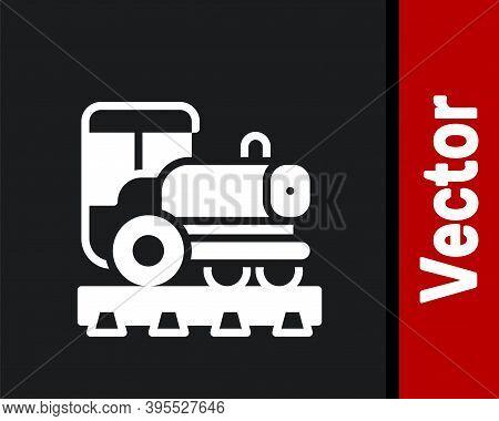 White Vintage Locomotive Icon Isolated On Black Background. Steam Locomotive. Vector