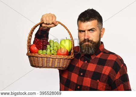 Guy Holds Homegrown Harvest. Farming And Autumn Crops Concept