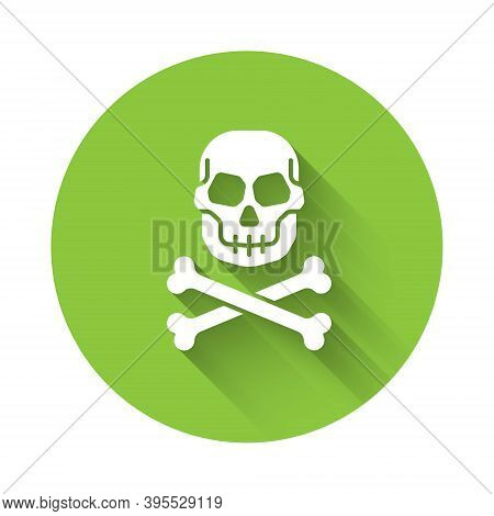 White Skull On Crossbones Icon Isolated With Long Shadow. Happy Halloween Party. Green Circle Button