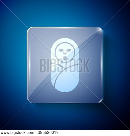 White Newborn Baby Infant Swaddled Or Swaddling Icon Isolated On Blue Background. Baby Kid Child Wra
