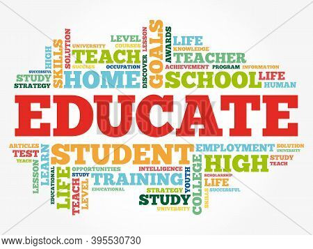 Educate - Word Cloud, Education Concept Background