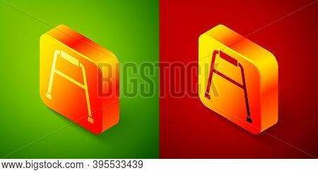 Isometric Walker For Disabled Person Icon Isolated On Green And Red Background. Square Button. Vecto