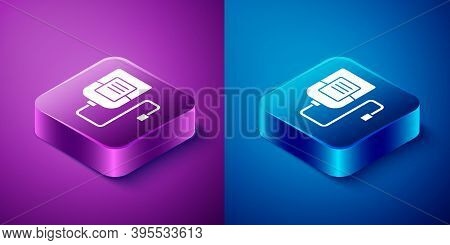 Isometric Iv Bag Icon Isolated On Blue And Purple Background. Blood Bag. Donate Blood Concept. The C