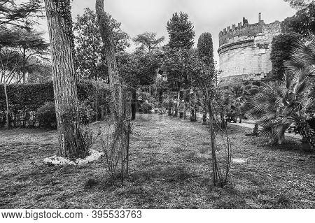 Walking In Via Appia Antica Aka Ancient Appian Way, Historic Road In Rome, Italy