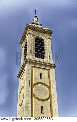 Belltower Of The Baroque Cathedral Of Saint Reparata, In The Old Town Of Nice, Cote D'azur, France