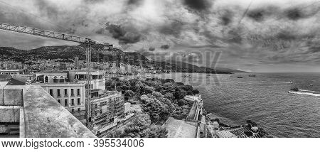 Panoramic View Over The Coast Of Monte Carlo, Cote D'azur, Principality Of Monaco, Iconic Place Of T