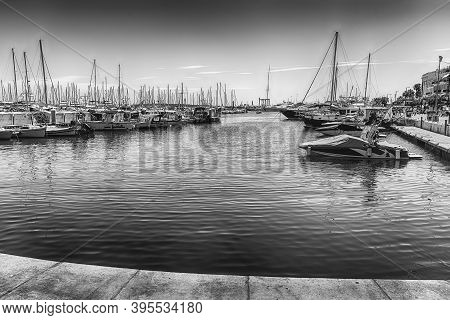 View Over The Boats Of Vieux Port In Le Suquet District, City Centre And Old Harbour Of Cannes, Cote