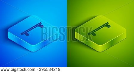 Isometric Line Longboard Or Skateboard Cruiser Icon Isolated On Blue And Green Background. Extreme S