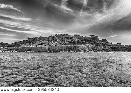 View Of The Coastline Near Saint-tropez, Cote D'azur, France. The Town Is A Worldwide Famous Resort
