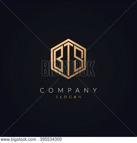 Minimal Letter Bts Logo Concept Icon Template Gold Color Vector.