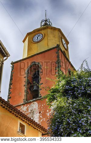 Bell Tower Of The Church Of Notre Dame, Located In The Old Town Of Saint-tropez, Cote D'azur, France