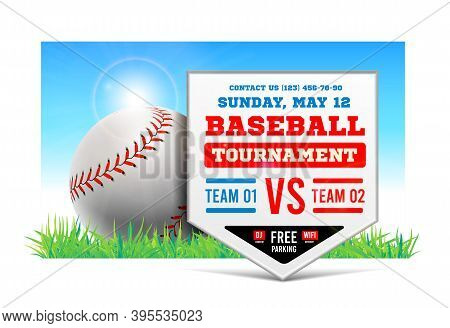 Baseball Plate On The Background Of The Grass Field. Vector. Baseball Game Announcement.