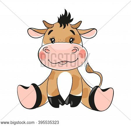 Cute Cartoon Bull, Flat Design. Baby Bull, Symbol Of 2021, Clip-art With Animal Isolated On White Ba