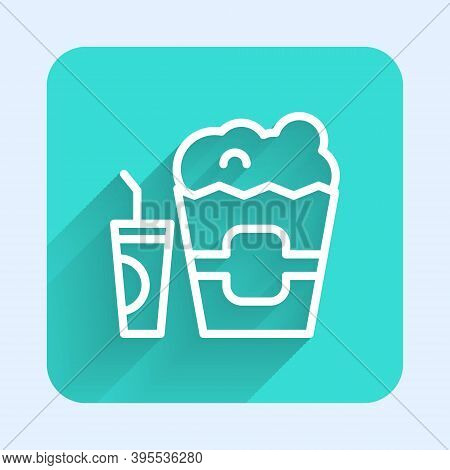 White Line Popcorn In Cardboard Box And Paper Glass With Drinking Straw And Water Icon Isolated With