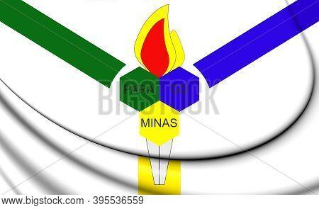 3d Flag Of Paragominas (para), Brazil. 3d Illustration.
