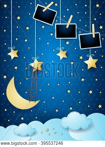 Surreal Cloudscape With Moon, Stars, Ladder And Photo Frames. Vector Illustration Eps10