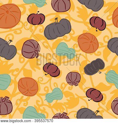 Halloween Pumpkin Squash Gourd Foliage Autumn Seamless Pattern. Vector Illustration. Perfect For Hal