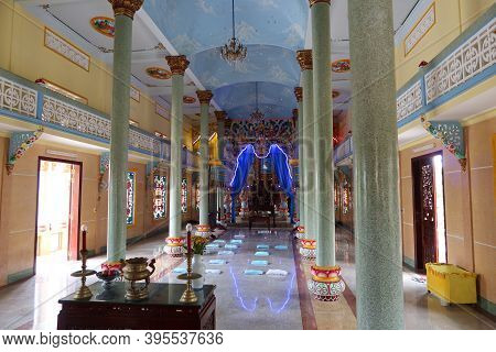 Hoi An, Vietnam, November 19, 2020: General View Of The Main Hall Of Worship Of The Cao Dai Temple I