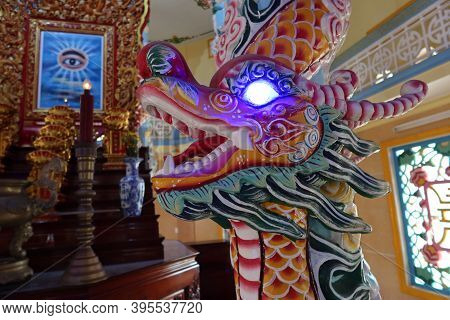 Hoi An, Vietnam, November 19, 2020: Dragon In The Main Hall Of Worship Of The Cao Dai Temple In Hoi