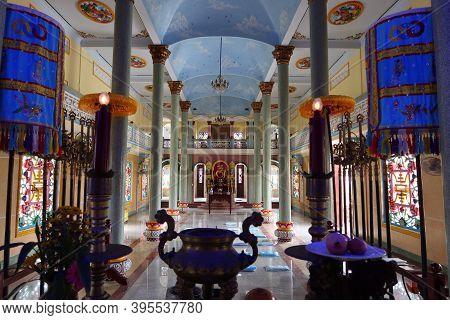 Hoi An, Vietnam, November 19, 2020: Main Hall Of Worship Seen From The Main Altar Of The Cao Dai Tem