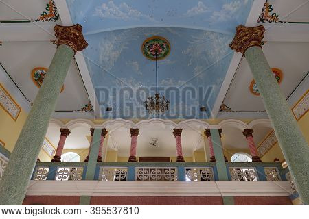 Hoi An, Vietnam, November 19, 2020: Ceiling And Upper Floor Of The Main Hall Of The Cao Dai Temple I