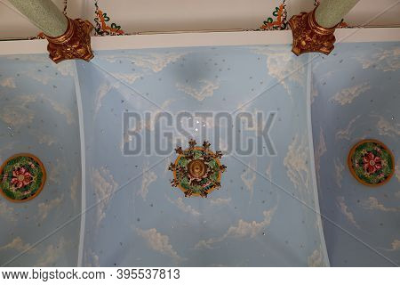 Hoi An, Vietnam, November 19, 2020: Ceiling Of The Main Hall Of The Cao Dai Temple In Hoi An