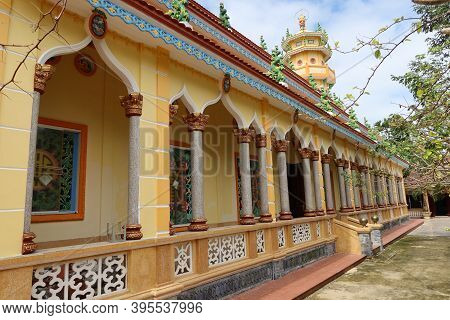 Hoi An, Vietnam, November 19, 2020: Side Facade With Arches Of The Cao Dai Temple In Hoi An