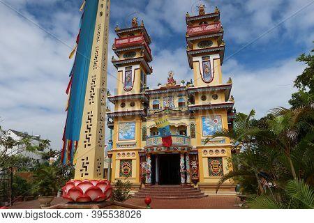 Hoi An, Vietnam, November 19, 2020: Main Facade Of The Cao Dai Temple In Hoi An