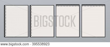 White Lined, Math Note, Notebook Paper Are On Light Gray Background For Text, Advertising Or Design.