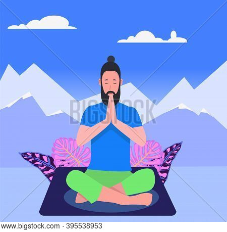 A Hipster Man In Yoga Lotus Practices Meditation On Silhouette Mountains Background. Practice Of Yog