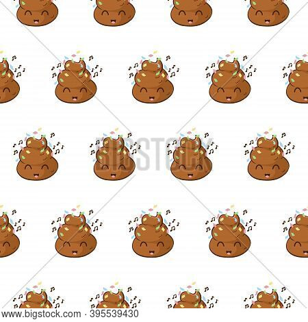 Vector Seamless Pattern With Party Poop Emoji. Funny Background With A Happy Poo Celebrating An Even