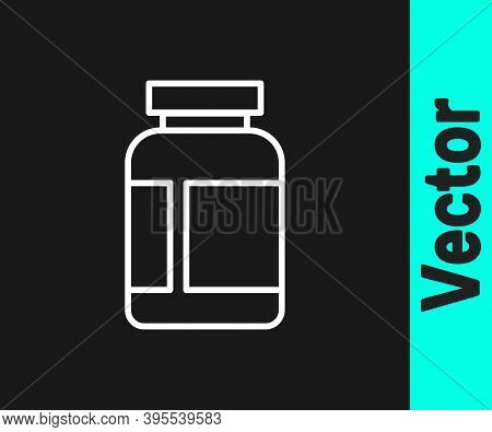 White Line Sports Nutrition Bodybuilding Proteine Power Drink And Food Icon Isolated On Black Backgr