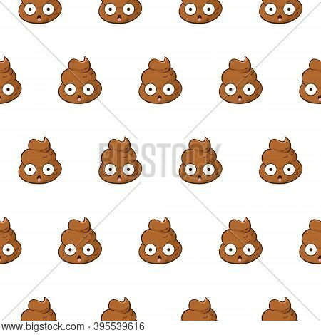 Vector Seamless Pattern With Shocked Poop Emoji. Funny Background With A Poo Scared With Open Mouth.