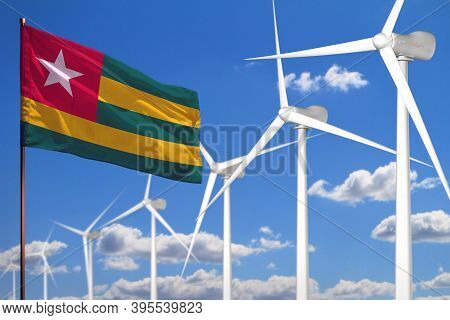 Togo Alternative Energy, Wind Energy Industrial Concept With Windmills And Flag - Alternative Renewa
