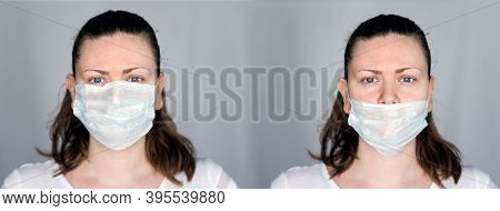 Young Woman Demonstrates The Right And Wrong Way To Wear A Mask To Avoid The Spread Of Coronavirus C