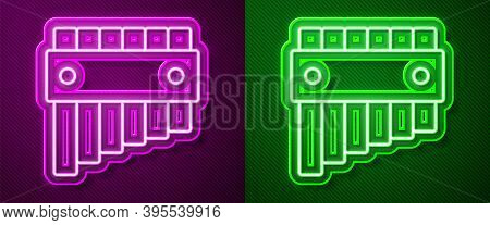 Glowing Neon Line Pan Flute Icon Isolated On Purple And Green Background. Traditional Peruvian Music