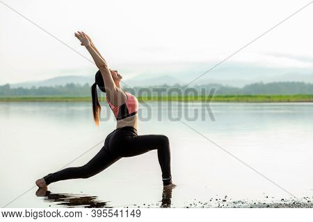 Yoga Women Lifestyle Exercise And Pose For Healthy Life. Young Girl Or People Pose Balance Body Vita