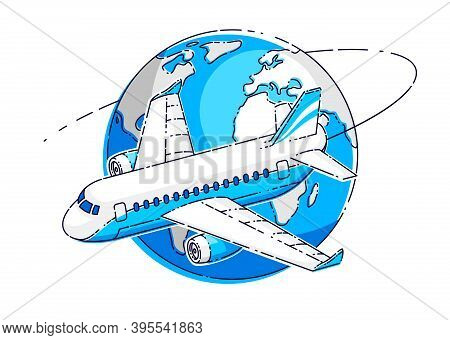 Airlines Air Travel Emblem Or Illustration With Plane Airliner And Planet Earth. Beautiful Thin Line