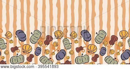 Halloween Pumpkin Squash Gourd Frame Border Seamless Pattern. Vector Illustration. Perfect For Hallo