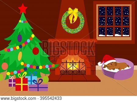 Christmas Room. The Fireplace Is Decorated With A Christmas Wreath. It Is Snowing Outside. Christmas