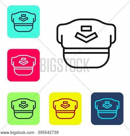 Black Line Pilot Hat Icon Isolated On White Background. Set Icons In Color Square Buttons. Vector