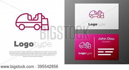 Logotype Line Ice Resurfacer Icon Isolated On White Background. Ice Resurfacing Machine On Rink. Cle