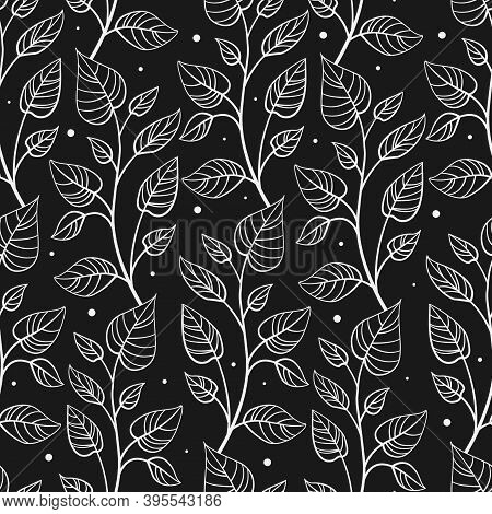 Vector Seamless Pattern With Vertical Abstract Foliate Branches; White Twigs On Black Background; Fo